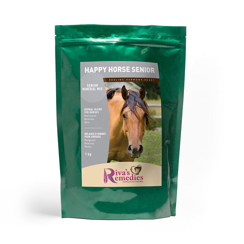 Happy Horse-Senior is an all-natural plant and seaweed supplement that provides optimum and highly absorbable and natural nutrition for senior horses. Rich in organic minerals, vitamins, fibre and anti-oxidants. OnTotalWellness distributing for Ontario