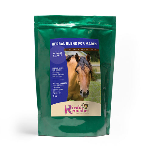 Herbal Blend for Mares is a soothing herbal blend to settle mares with hormonal imbalance. This palatable supplement supports calm behaviour in mares with mood swings, irritability, lack of cooperation, anti-social behaviour and/or aggression. Supports a normal hormonal cycle in mares with chronic heats and/or cycling irregularities. OnTotalWellness distributing for Ontario