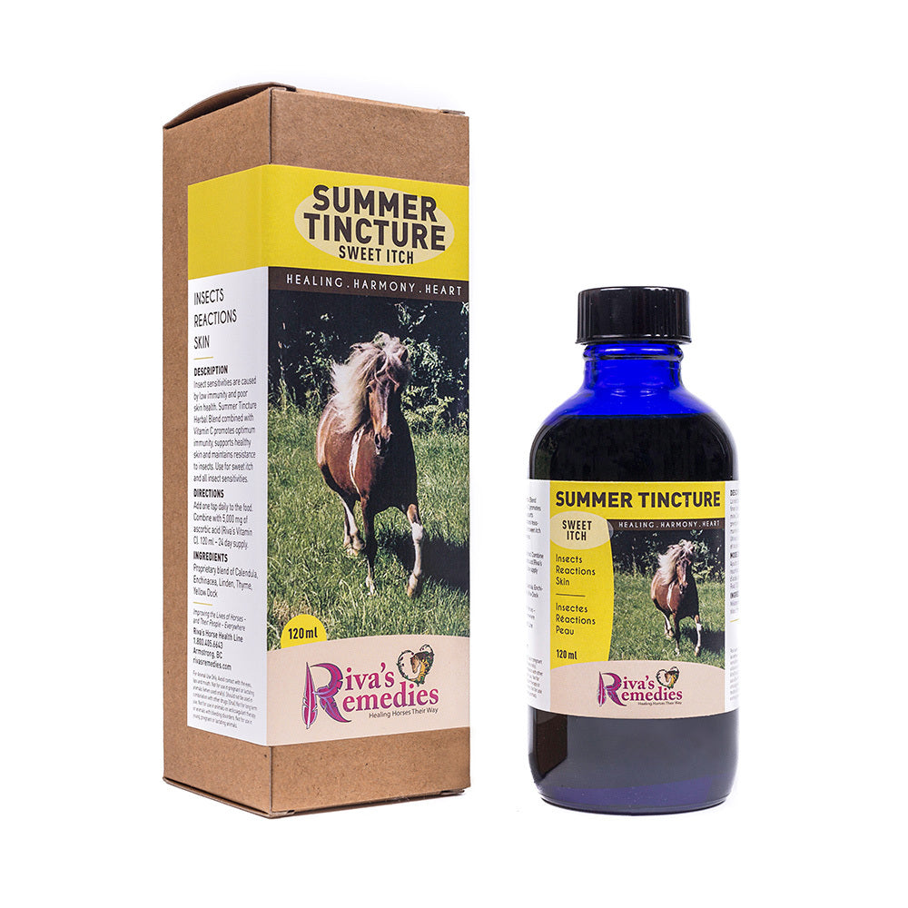 Summer Tincture liquid Herbal Blend , combined with Vitamin C promotes optimum immunity, supports healthy skin and maintains resistance to insects. Use for sweet itch hives and all insect sensitivities. OnTotalWellness distributing for Ontario