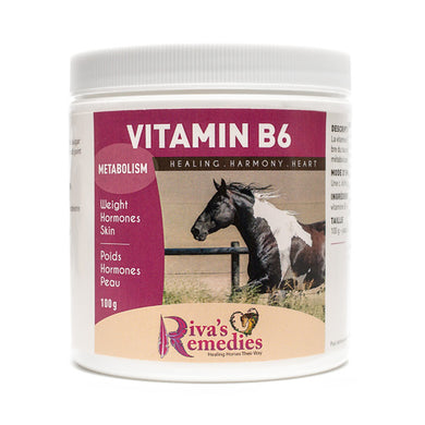 Vitamin B-6 is beneficial for blood sugar regulation, metabolic horses, and joint support. OnTotalWellness distributing for Ontario