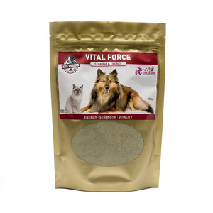 Vital Force is a herbal blend for dogs and cats to provide optimal nutrition, energy, and healthy skin  and fur coat.