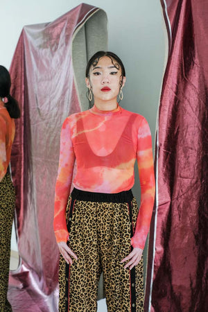Red Dragon Moss Mesh Tiedye Top