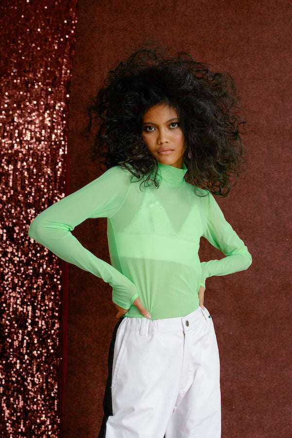 Moss Mesh Top Chartreuse