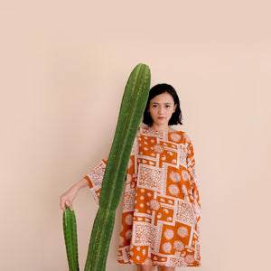 Slow Day Dress Paisley Terracotta