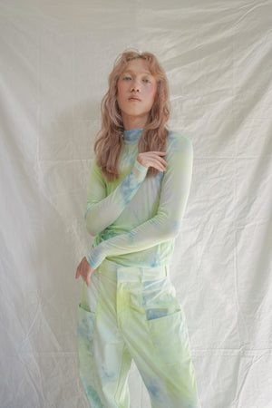 Minty Lime Moss Mesh Tiedye Top