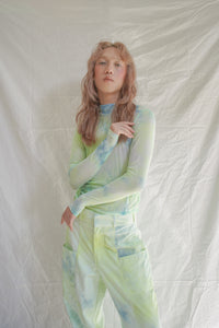 Moss Mesh Tiedye Top Minty Lime