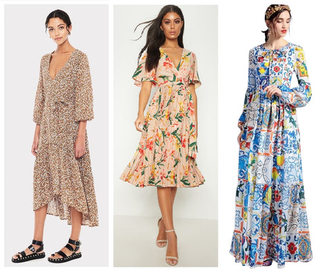 Peasant Floral midi and maxi Print Dresses