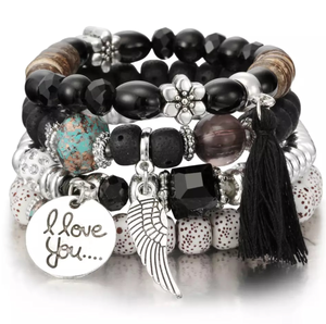 'I Love You' - Black/Silver 4-Piece Bracelet - coleculture