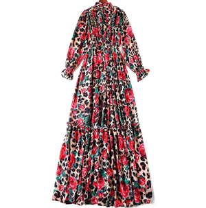 Vintage Floral & Cheetah Print Floor Length Dress - coleculture