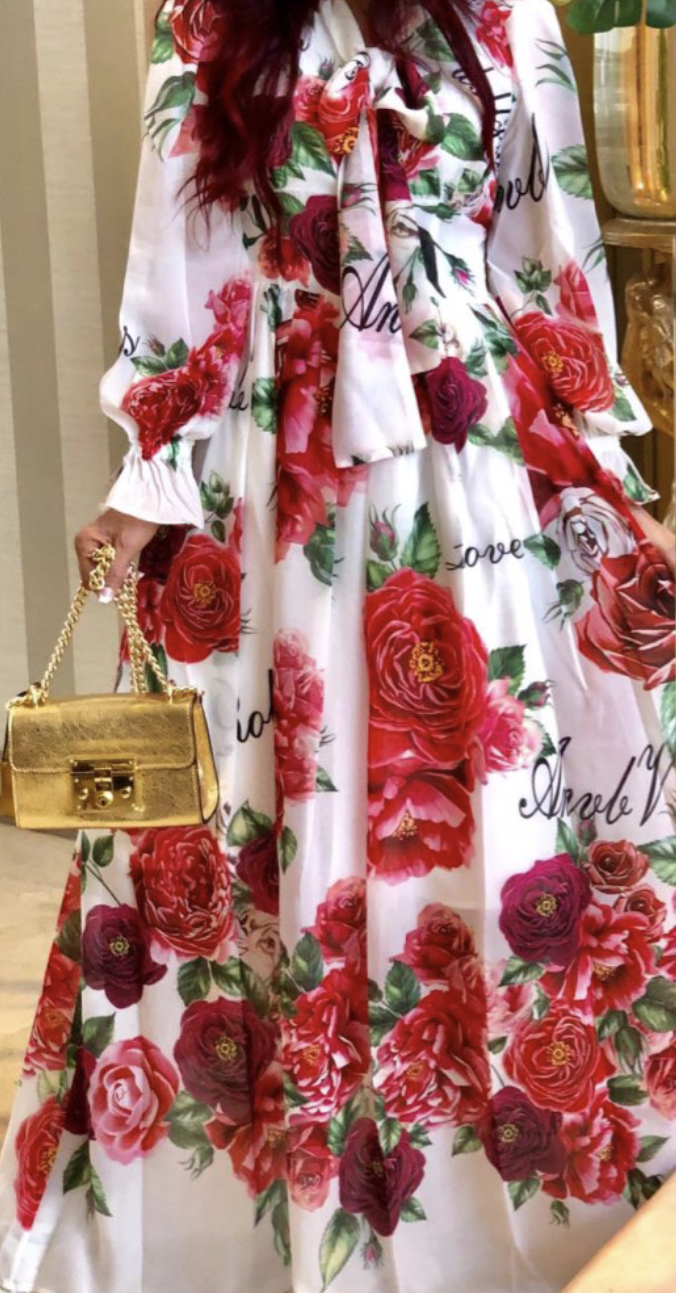 Red Floral Print Maxi Long-Sleeve Dress - coleculture