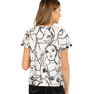 Sketched Print Loose fitting T-Shirt - coleculture