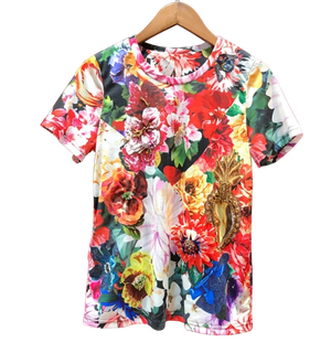 Floral T-shirt with hand sewn rhinestones - coleculture