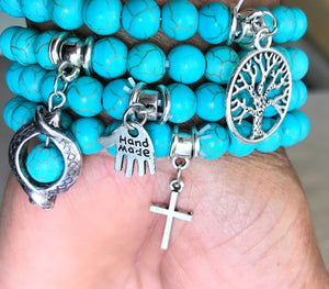 "Handmade Turquoise Bracelet with ""Cross"" Charm - coleculture"