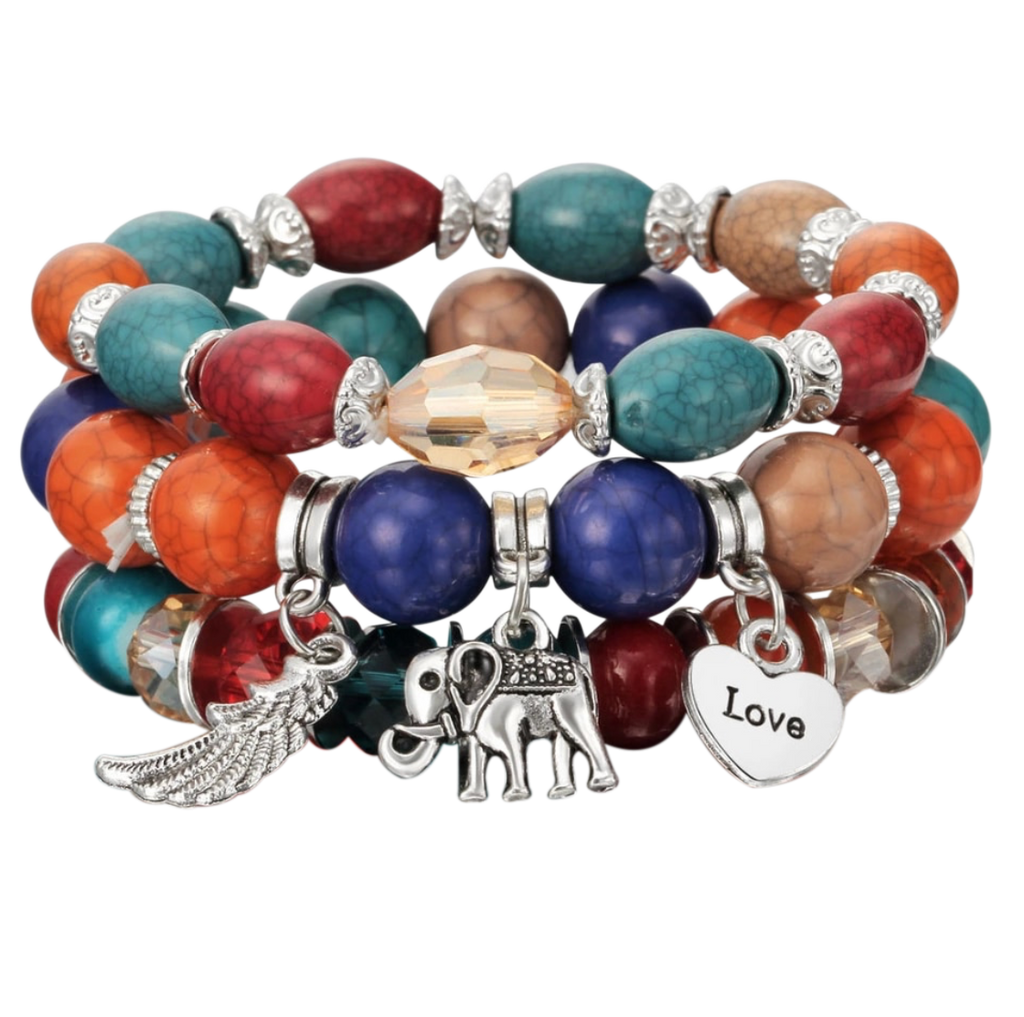 Three-piece Beaded Charm Bracelets - coleculture