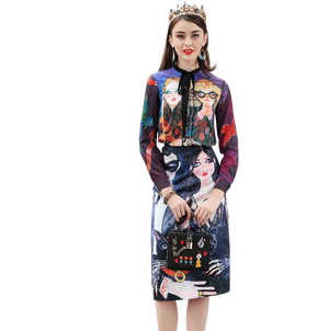 Surreal Print Long-Sleeve Blouse - coleculture