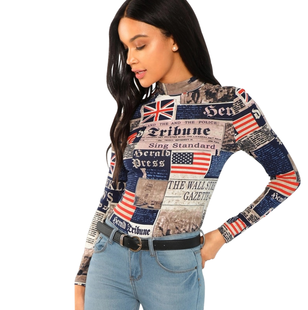 Newspaper Print Fitted Long-Sleeve T-Shirt - coleculture