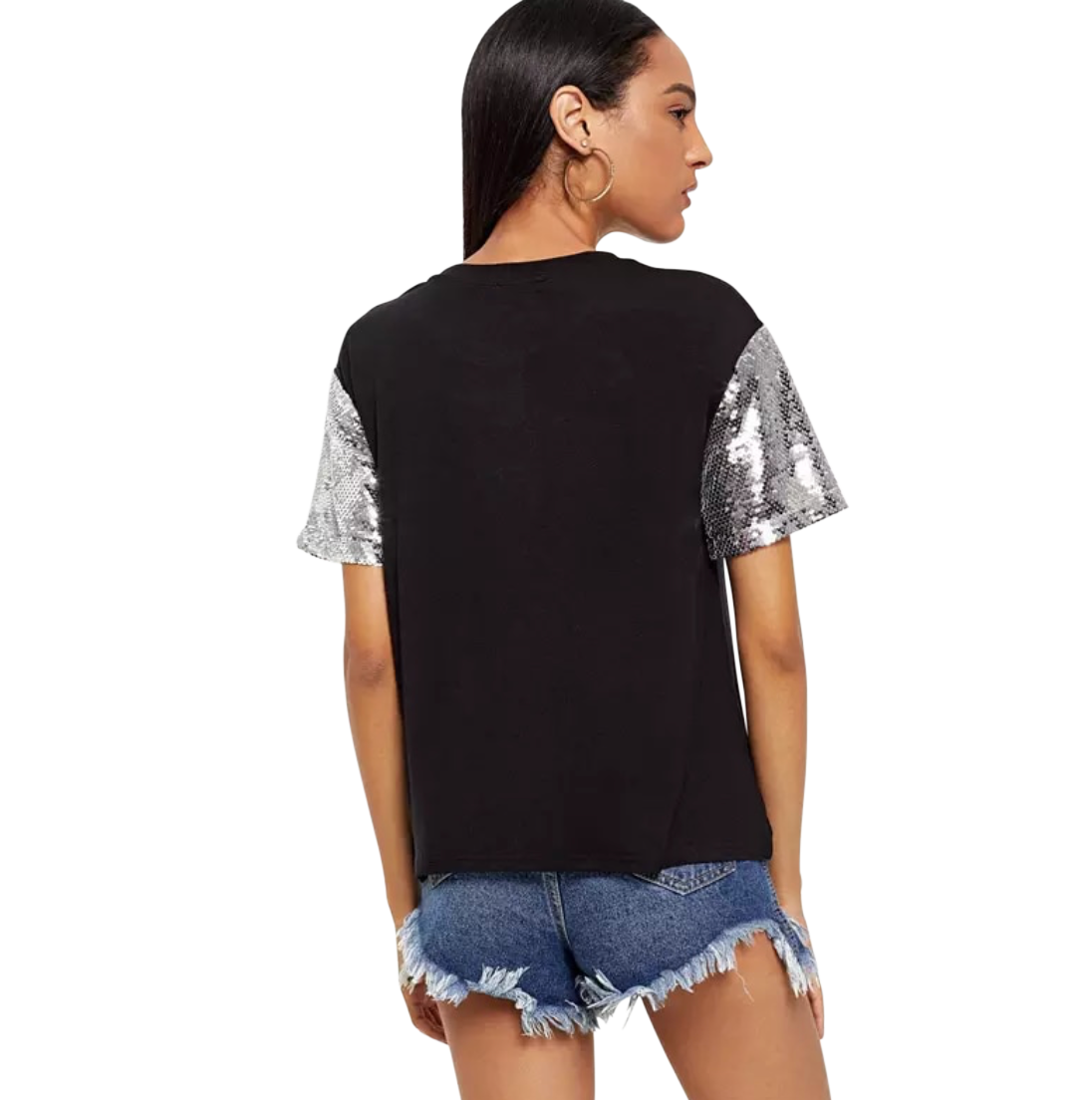 Black and Silver Sequinned Short Sleeve T-Shirt - coleculture