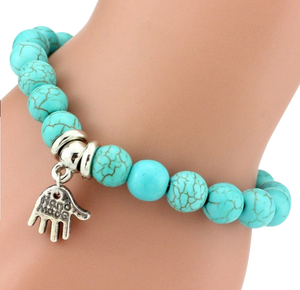 "Turquoise Bracelet with ""handmade"" Charm - coleculture"
