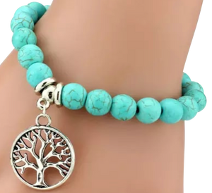 "Handmade Turquoise Bracelet with ""Tree of Life"" Charm - coleculture"