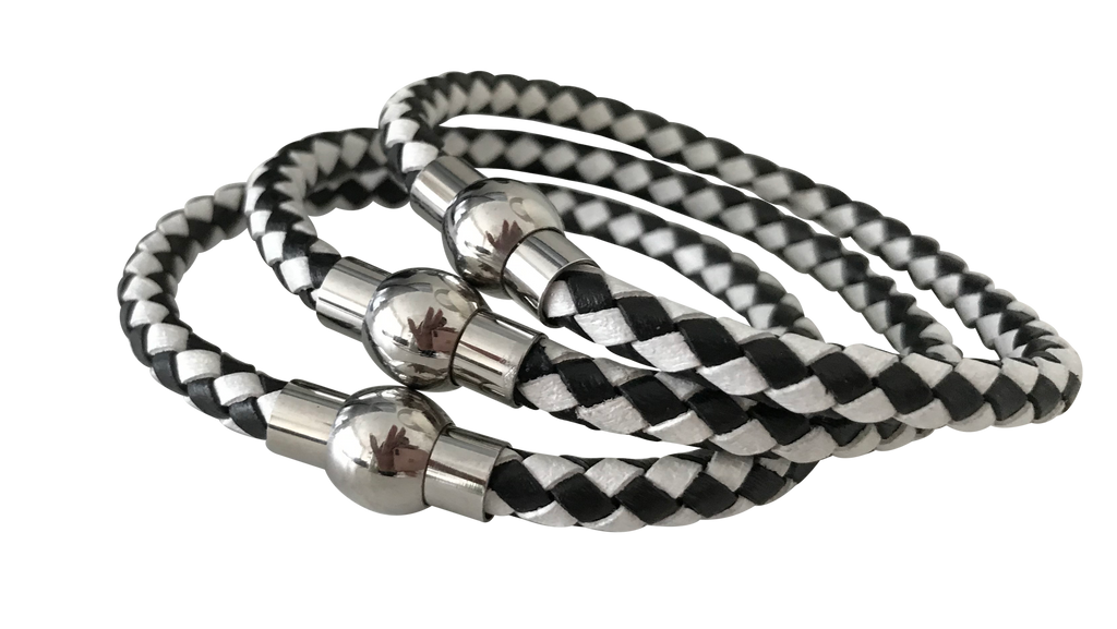 Leather Unisex Checkerboard Metal Clasp Bracelet - coleculture