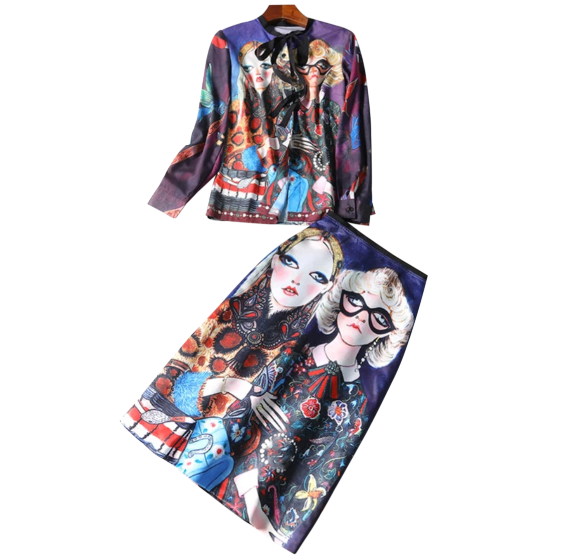 Surreal Print Knee-length Skirt - coleculture