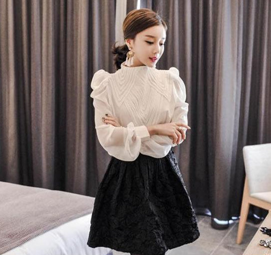 Vintage High-Collar Sheer Pleated Long-Sleeve Blouse - coleculture