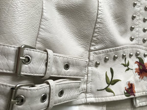 Faux Leather Floral Embroidered Biker jacket - coleculture