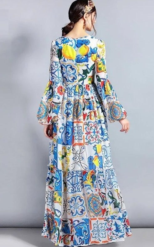 Bohemian Floral Peasant Maxi Summer Dress