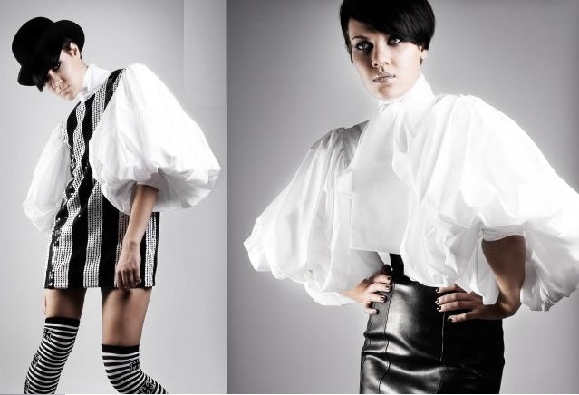 White Bellowed Sleeve Cotton Blouse - coleculture