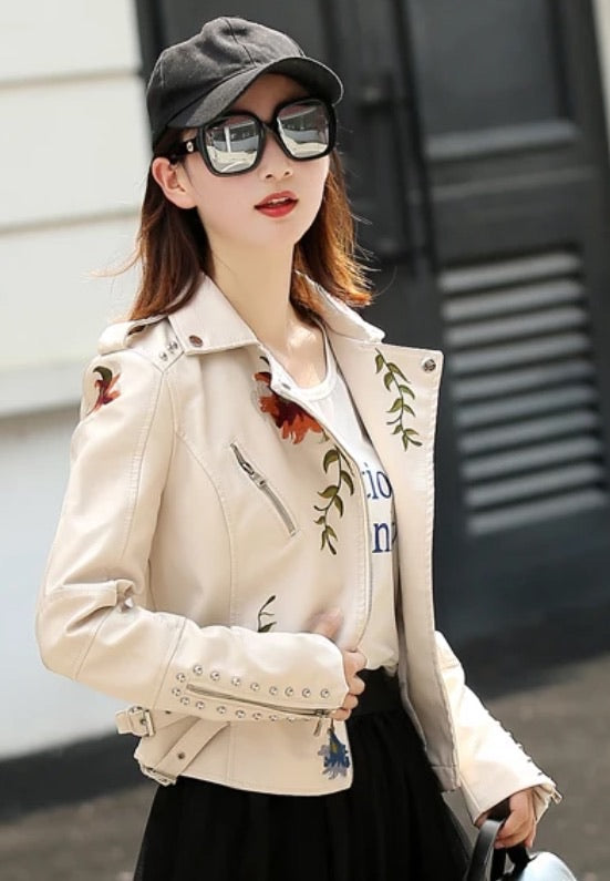 Faux Leather Floral Embroidered Biker jacket