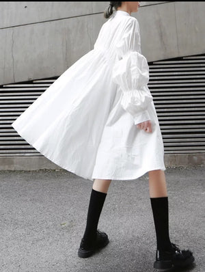 White Smocked Shirt Dress