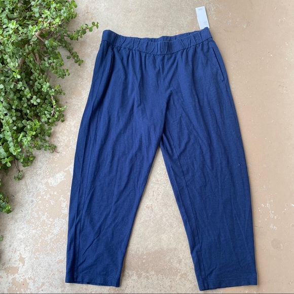 Eileen Fisher Hemp/Cotton Navy Pant, Size Large