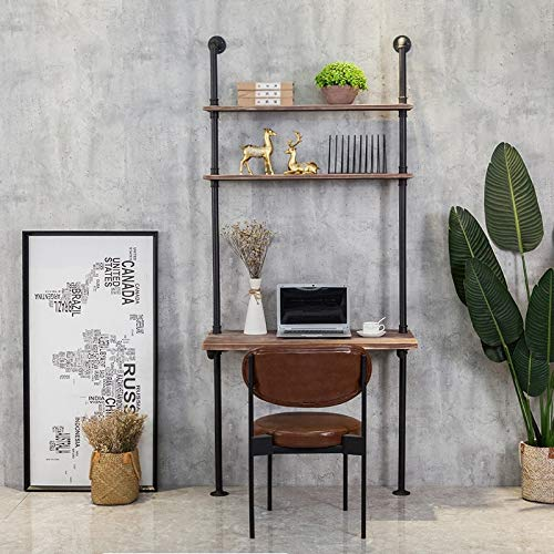 Wall Mount Wood Desk with Shelves