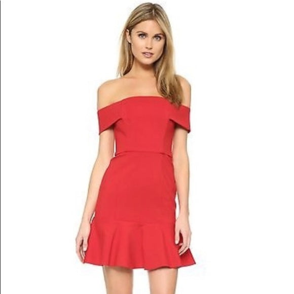 n/nicholas Ponti Off Shoulder Red Mini Dress