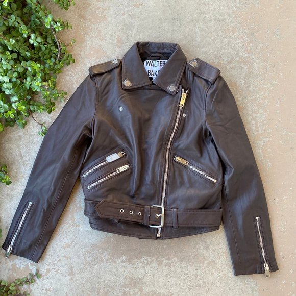 Walter Baker Allison Leather Moto Jacket, Size Small