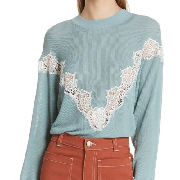 See by Chloe Chevron Lace Sweater, Size Small