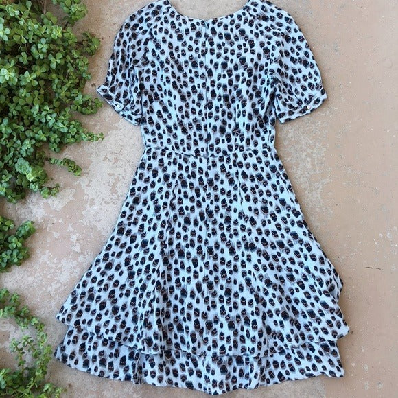Reiss Blue Leopard Mini Dress, Size 0
