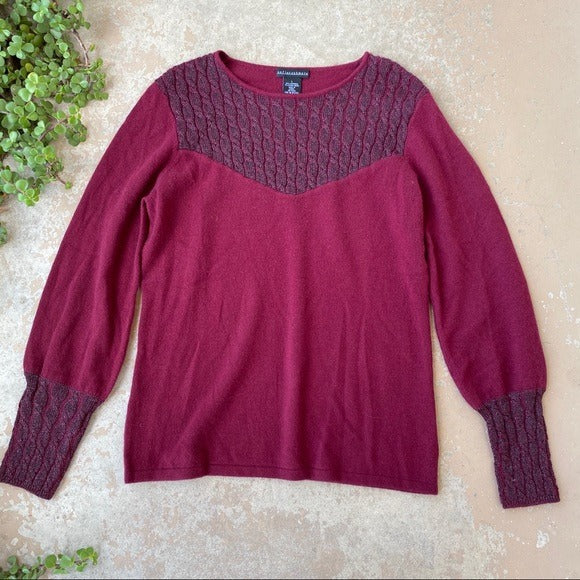 Sofia Cashmere Metallic Maroon Sweater, Size Large