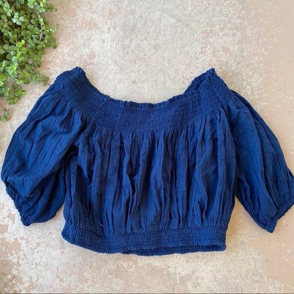Free People Off Shoulder Peasant Top, Size Large
