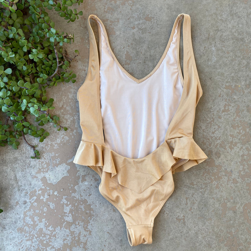 Something Navy Gold One Piece Swimsuit, Size XXS