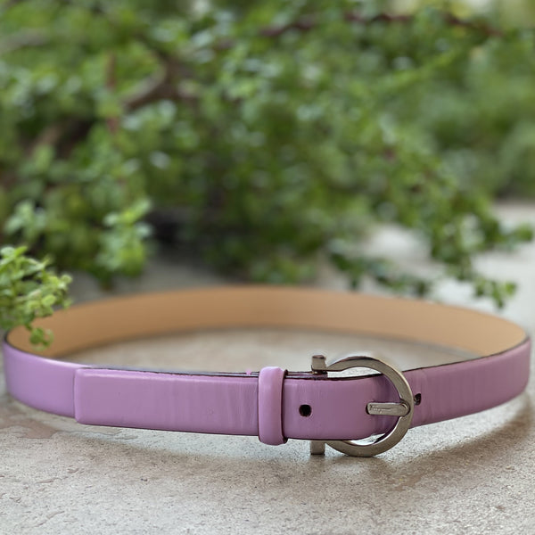 Salvator Ferragamo Lilac Leather Belt, Size 29 (XS)