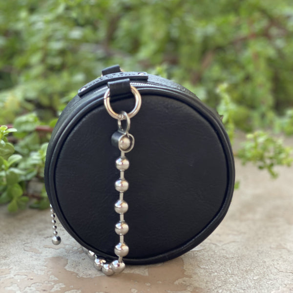ALYX Eclipse Black Leather Ball Chain Mini Bag