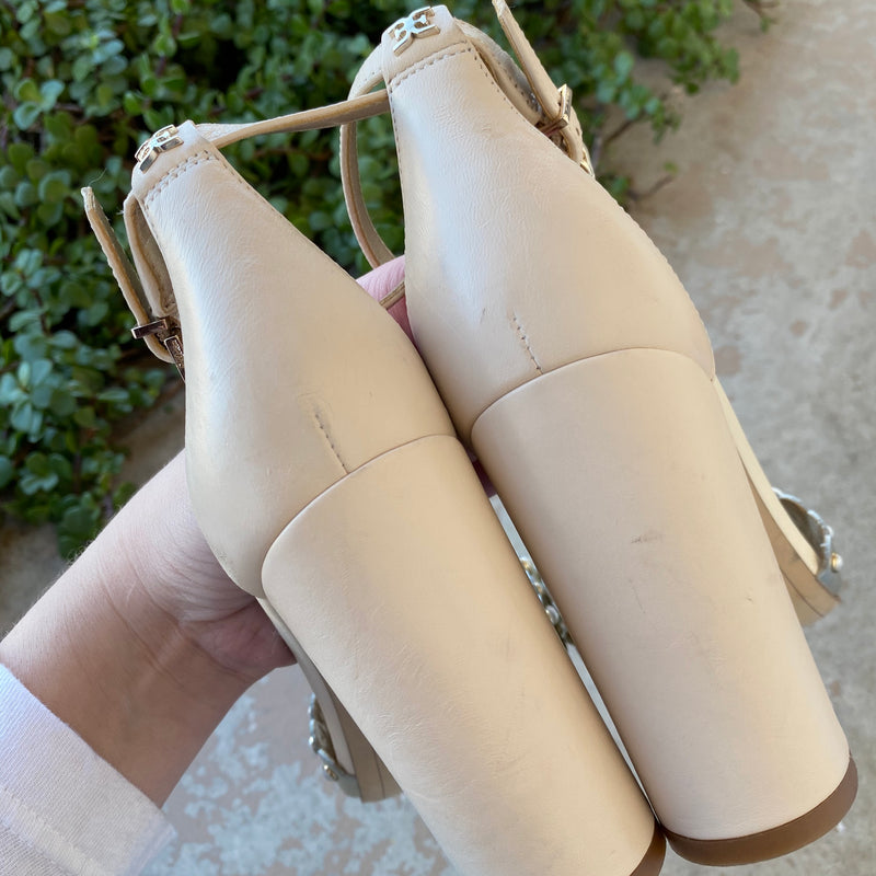 Sam Edelman Leather Pearl Heels, Size 5.5M