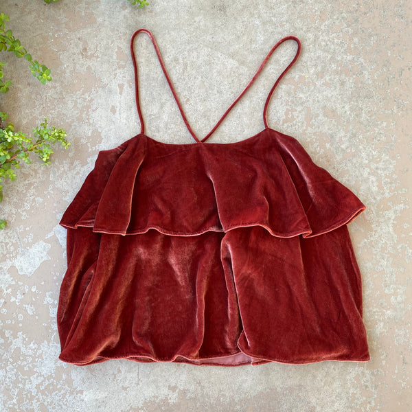 Madewell Velvet Cami Top, Size Medium