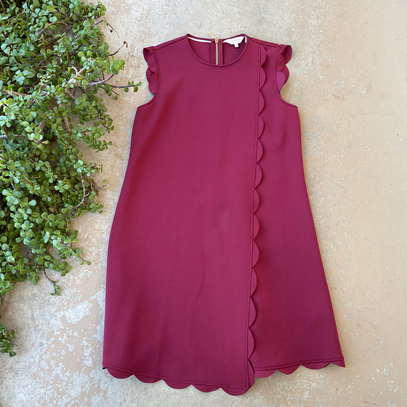 Ted Baker Maroon Scallop Dress, Size 8-10/M