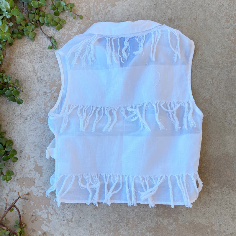 Sea New York Fringe Crop Top, Size Small
