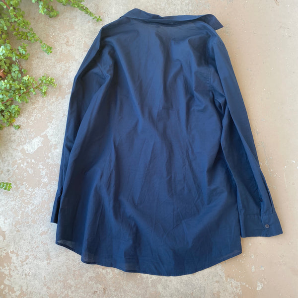 Eileen Fisher Navy Organic Cotton Tunic Shirt, Size Large