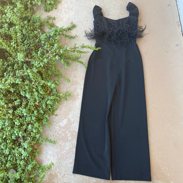 Saloni Aurelie Feather Jumpsuit, Size 4