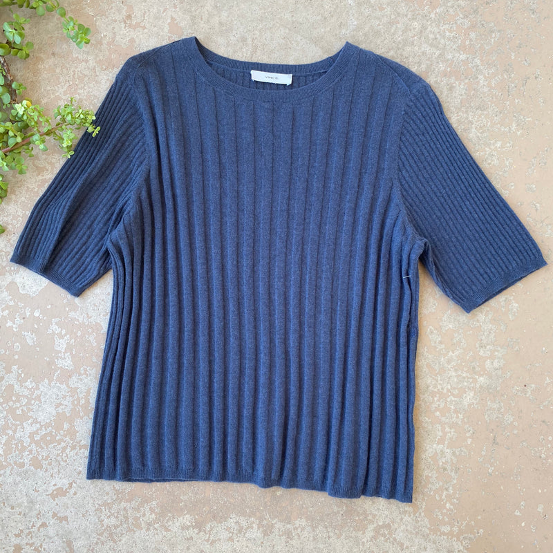 Vince Blue Soft Ribbed Top, Approx Size Large