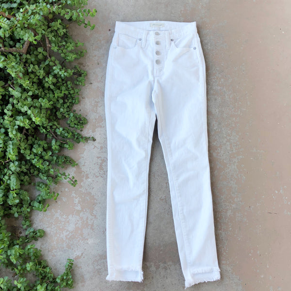 Madewell High Rise White Fray Jeans | Size 23